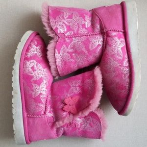 Girls UGG boots size 2 pink butterfly